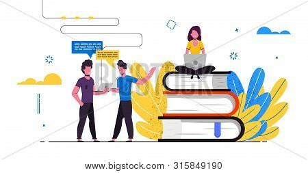 People Talking Distance Education Banner, E-learning, Online Courses, Tutorials. Website Concept Lan