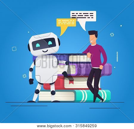 Human Vs Robot Concept. Future Cooperation. Human Speaking, Working, Learning With Ai Robot. Smiling