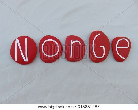 Norge, Norwegian Name Of Norway, Scandinavian Country Composed With Red Colored And Carved Stones Ov