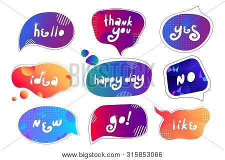 Abstract Creative And Futuristic Speech Bubbles Collection With Gradient Background. Dialog Windows