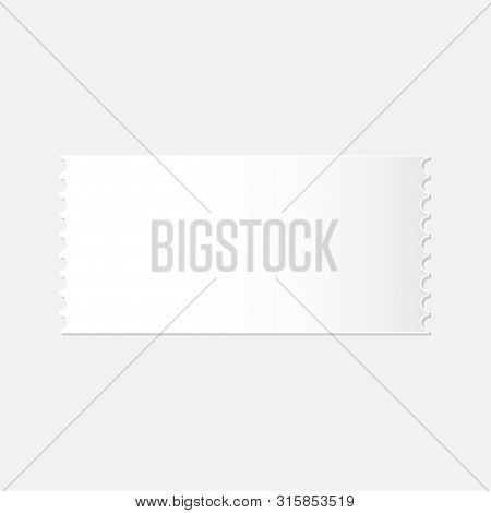 Realistic Mockup Of Detachable Blank White Ticket Vector