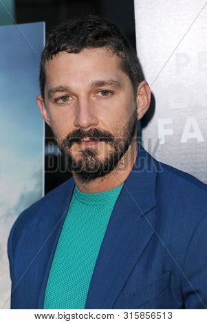 Shia LaBeouf at the Los Angeles premiere of 'The Peanut Butter Falcon' held at the ArcLight Cinemas in Hollywood, USA on August 1, 2019.