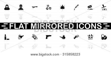 Crime Icons - Black Symbol On White Background. Simple Illustration. Flat Vector Icon. Mirror Reflec