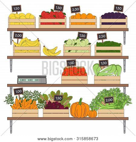 Set Of Vegetables And Fruits In The Boxes. Farmer S Marker, Grocery Store, Zero Waste Shop. Local Ma