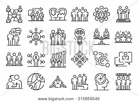 Big Set Of Thin Line Icons Related With Human Resources Management Isolated On White. Outline Team W