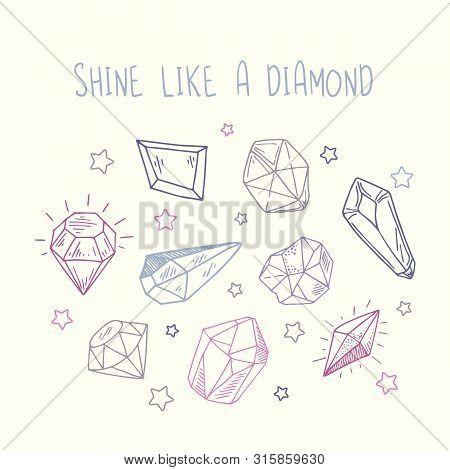 Greeting Card Or Invitation Templates - Pink, Purple, Blu Rystals Or Gems On White, Gemstones, Diamo