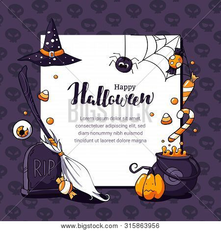 Halloween Postcard Vector Illustration With Scary Theme And Space For Text. Halloween Card With Eyeb