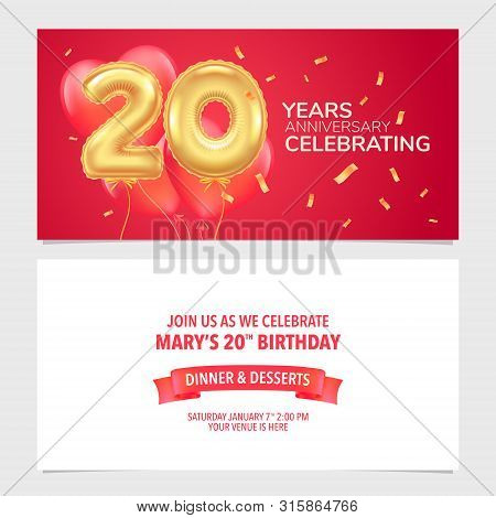 20 Years Anniversary Invitation Vector Illustration. Design Template Card, Party Invite With Air Bal