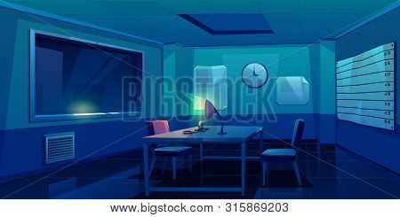 Interrogation Room In Police Station, Dark Empty Interior For Questioning Crimes With Handcuffs And