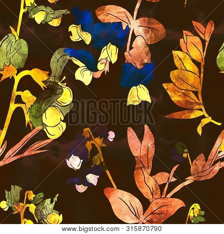 Seamless Pattern With Flowers And Leaves Of Garden Vetch. Mix-media Design With Digital Illustration
