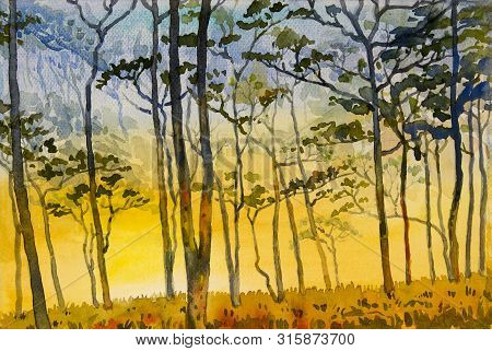 Paintings Watercolor Landscape Original Of Wildfire, Eco Mountain And Meadow Countryside. Hand Paint