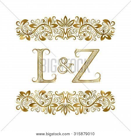 L And Z Vintage Initials Logo Symbol. The Letters Are Surrounded By Ornamental Elements. Wedding Or