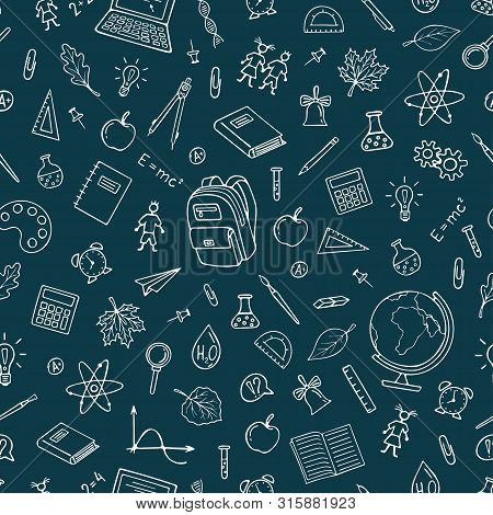 Back To School Seamless Pattern Background.  Graphic By Hand. Vector Pattern For Wallpaper Wrapping