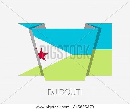 Flag Of Djibouti. Flat Icon Waving Flag With Country Name On White