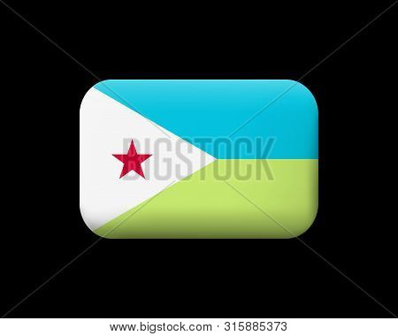 Flag Of Djibouti. Matted Vector Icon And Button. Rectangular Shape With Rounded Corners