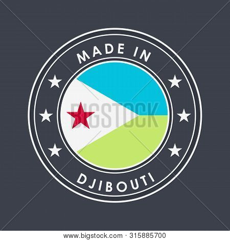 Flag Of Djibouti. Round Label With Country Name For Unique National Goods. Vector