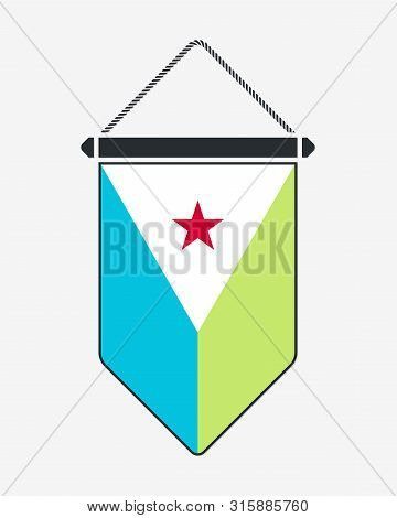 Flag Of Djibouti. Vector Sign And Icon. Vertical Pennant. Vector Isolated