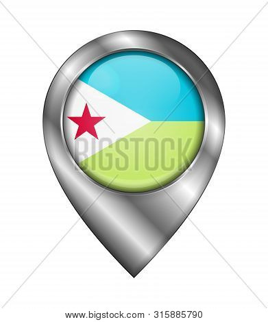 Flag Of Djibouti. Vector Sign And Icon. Location Symbol Shape. Silver