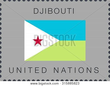 Flag Of Djibouti. Vector Sign And Icon. Postage Stamp