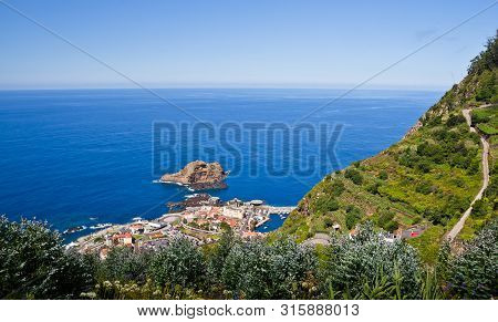 Open view across the unique mountain landscapes in terraces in Porto Moniz, Madeira, Portugal, Europe poster