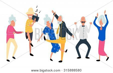 Dancing Old People. Happy Aged Women And Men On The Party. Laughing Grandfather With Recorder Player