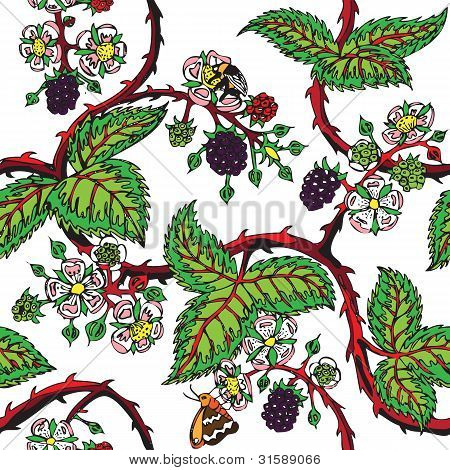 Bramble tattoo seamless pattern