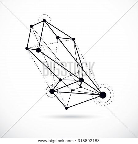 Abstract Geometric 3d Wireframe Object, Corporate Technology Vector Illustration.