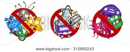 Stop Spread Virus Symbol Set. Cartoon Germ Characters Isolated Vector Illustration On White Backgrou