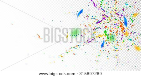 Streamers And Confetti. Colorful Tinsel And Foil Ribbons. Confetti Explosion On White Transparent Ba