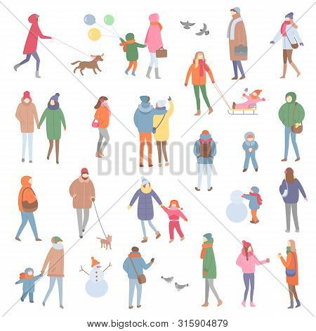 Winter And Autumn Warm Clothes, People Walking Vector. Family Father And Mother With Kid, Son Holdin