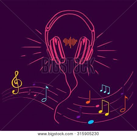 Headphones Performing Loud Sounds Vector Doodles In Flat Style. Headset Hand Drawn Musical Earphones