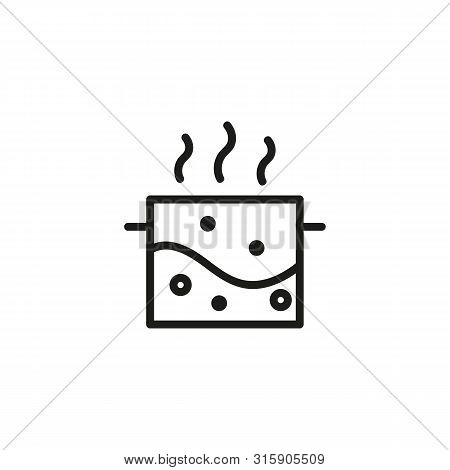 Boiling Water Line Icon. Saucepan, Soup, Bubble. Cooking Concept. Can Be Used For Topics Like Physic