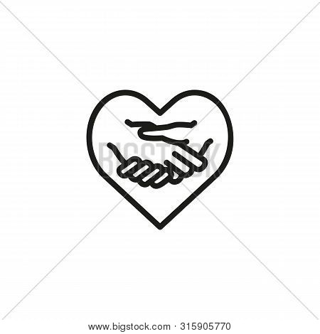 Charity Deal Line Icon. Handshake, Gesture, Heart. Support Concept. Can Be Used For Topics Like Nonp