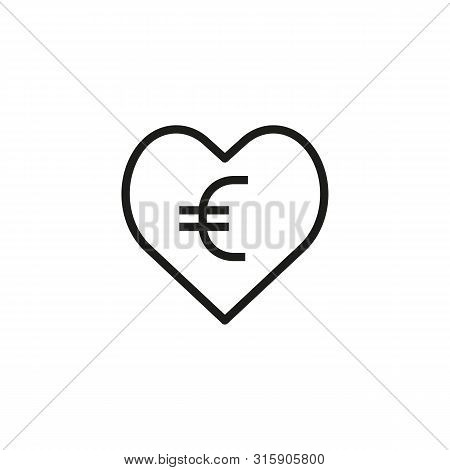 Charity Donation Line Icon. Euro, Heart, Fundraising. Collecting Money Concept. Can Be Used For Topi