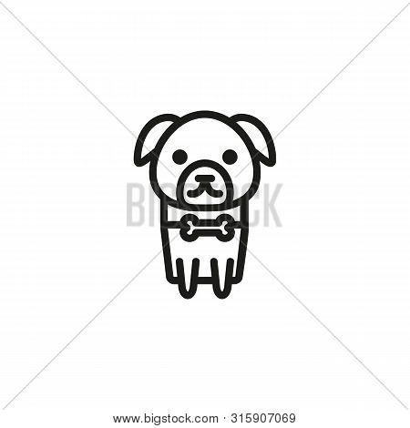 Pet Dog Line Icon. Bone Collar, Tag, Puppy. Walk With Dog Concept. Can Be Used For Topics Like Frien