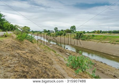 Irrigation Canal Or Irrigation Channel In Concrete Wall Send Water From The Reservoir To The Agricul