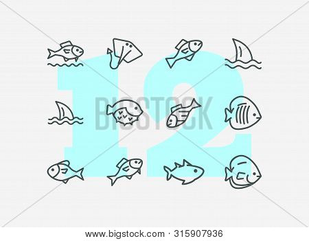 Fish line icon set. Shark, stingray, flounder, puffer fish. Nature concept. Can be used for topics like seafood, fish market, sea, ocean poster