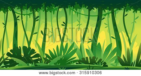 Wild Jungle Forest With Trees, Bushes And Lianas, Nature With Green Jungle Foliage And Lianas On Tre