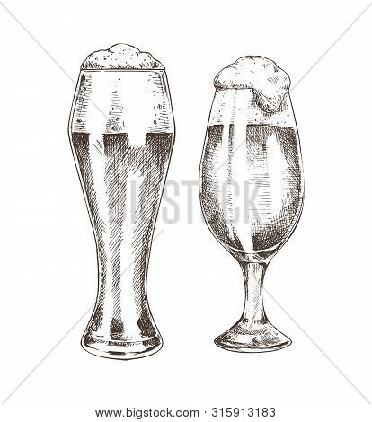 Pair Of Beer Goblets With Foamy Ale Graphic Art, Vector Illustration Of Glassy Kitchenware With Alco