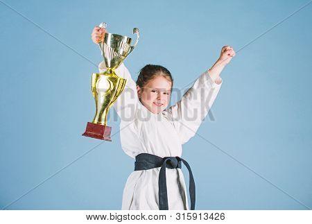 Karate Fighter Child. Karate Sport Concept. Self Defence Skills. Karate Gives Feeling Of Confidence.