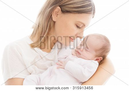 Newborn Baby And Mother, Mom With Sleeping New Born Kid On Hands, Two Weeks Old Child On White