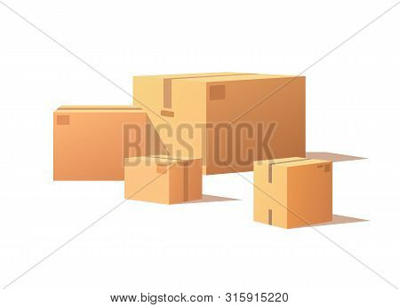 Fragile Packs, Closed Packages With Adhesive Tape, Post Office Crates, Stockpile Storage Stacks. Car