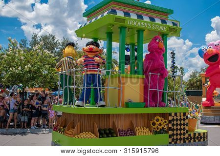 Orlando, Florida. July 30, 2019. Bert, Ernie And Telly Monster In Sesame Street Party Parade At Seaw