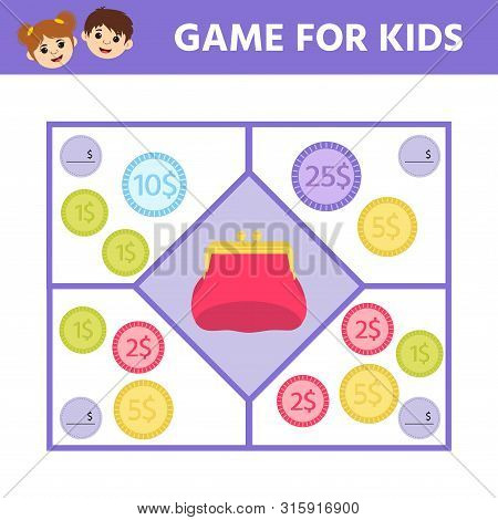 Matching Education Game For Kids. Count The Coins In Wallets. Activity Sheet. An Evolving Economic G