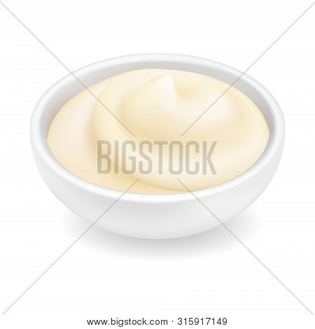 Realistic 3d Mayonnaise Or Sour Cream In A Round Bowl. Creamy Sauce, Yoghurt Isolated On White Backg