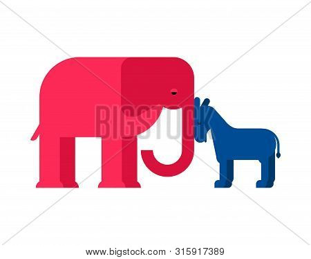Elephant And Donkey Usa. Republican And Democrat Party America. Vector Illustration