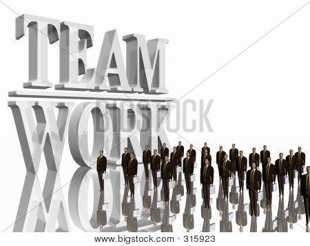 Team Work Over White.