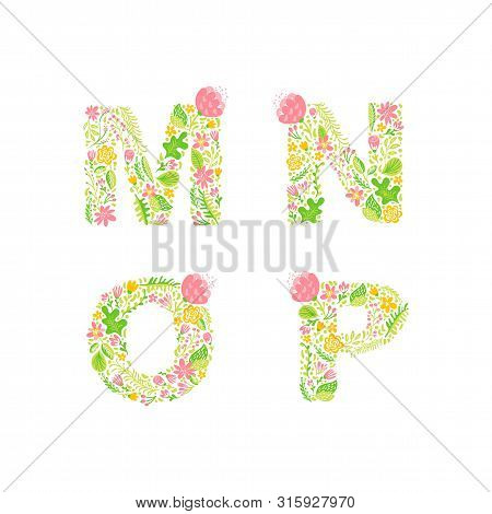 Vector Hand Drawn Floral Uppercase Letter Monograms Or Logo. Uppercase Letters M, N, O, P With Flowe