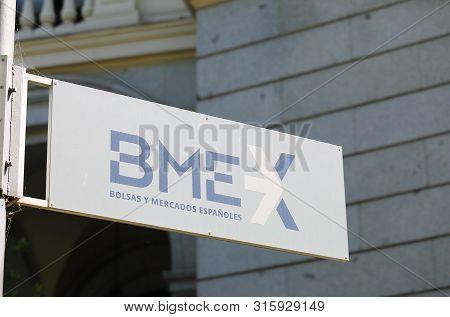 Madrid Spain - May 28, 2019: Madrid Stock Exchange Bme Madrid Spain