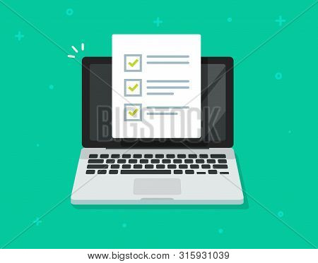 Check List Document On Laptop Vector, Flat Cartoon Computer With Paper Check List And To Do List Wit